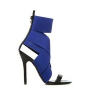 Black and Blue Heeled Sandals